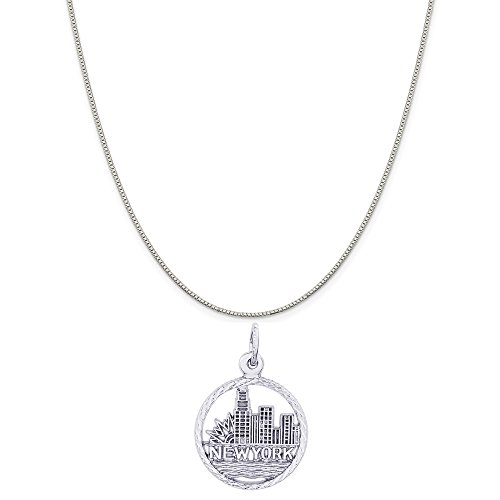 Rembrandt Charms Sterling Silver New York City Skyline Charm on a Box Chain Necklace, 18