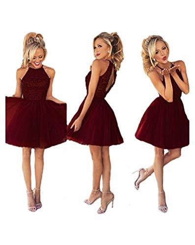 Ubridal Short Beading Keyhole Back Tulle Homecoming Dresses Prom Gowns Burgundy 6