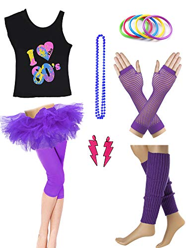 Dorigan Womens 80s Neon Rainbow T-Shirt Fancy Outfit Dress Costume Accessories (L, Purple)