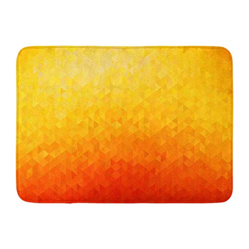 Emvency Doormats Bath Rugs Outdoor/Indoor Door Mat Yellow Pattern Abstract Orange Color Geometric Triangle Shapes Colorful Diamond Bathroom Decor Rug Bath Mat 16