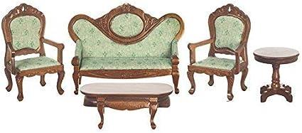 Melody Jane Casa de Muñecas Victoriana Conjunto de Muebles Salón Nogal y Verde