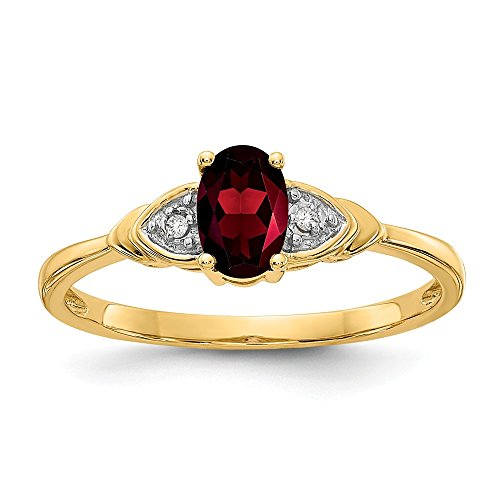 14k Yellow Gold Diamond Red Garnet Band Ring Size 7.00 Stone Birthstone January Fine Jewelry Gifts For Women For Her ()