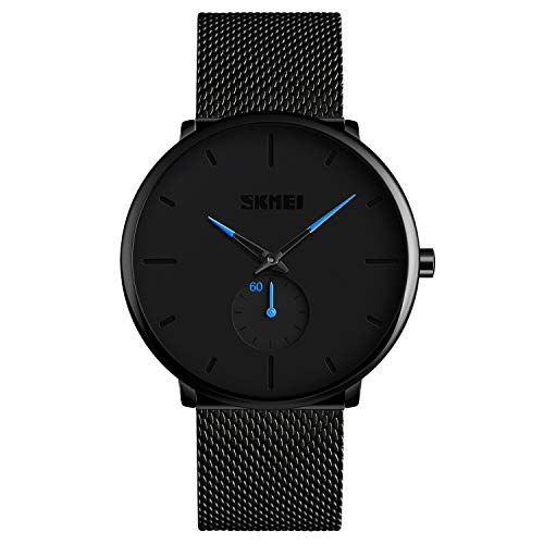 Mens Watch Black Ultra Thin Wrist Watches for Men Fashion Luxury Waterproof Dress Stainless Steel Band Quartz Watches - Blue