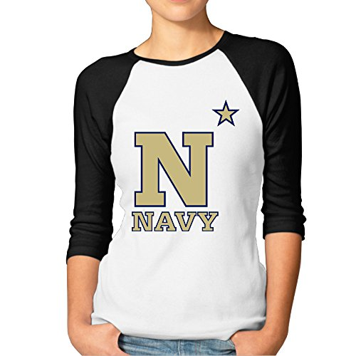 GUC Women's 3/4 Sleeve T-shirts - United States Naval Academy Athletics Black XL