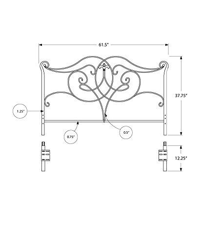 Monarch Geometric Combo Head/Footboard, Queen/Full, Satin Black
