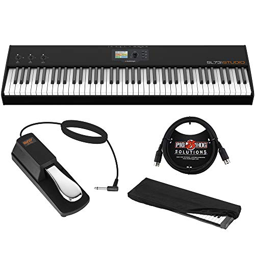 StudioLogic SL73 Studio 73 Key USB/MIDI Keyboard Controller with FP-P1L Sustain Pedal, Keyboard Dust Cover (Medium) & 6ft MIDI Cable Bundle