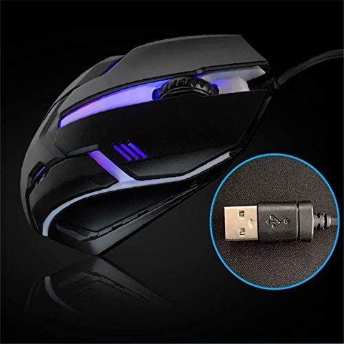 SARANAZ LED Light 4 Button Wired Gaming Mouse 1600DPI Optical USB Ergonomic Colorful Light Mice Mouse for PC Computer Notebook