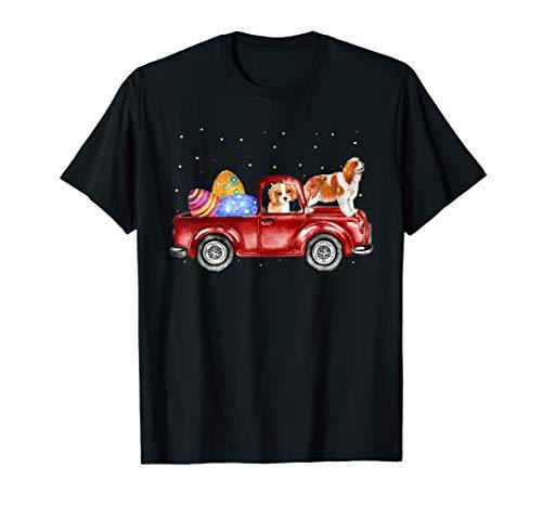 Cavalier King Charles Spaniel Riding Truck Easter Tshirt