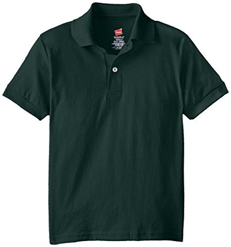Hanes Big Boys' Short Sleeve Eco Smart Jersey Polo, Deep Forest, Medium