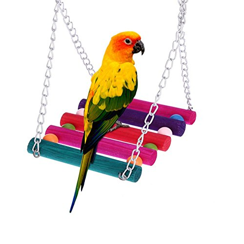 Rainsflower Pet Bird Parrot Parakeet Budgie Cockatiel Cage Hammock Swing Colorful Hanging Toy