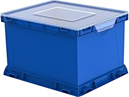 Storex Storage and Filing Cube, 17.25 x 14.25 x 10.5 Inches, Blue/Clear, Case of 3 (STX62003U03C)