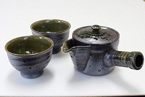 (Imari Japanese Ceramic Tea Ceremony Set Kyusu Teapot Strainer & 2 Sencha Cups Black)