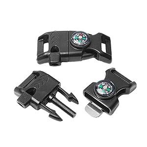 "10pcs Pack Black 5/8"" Compass Flint Scraper Fire Starter Whistle Buckle Plastic Paracord Bracelet Outdoor Camping Emergency Survival Travel Kits #FLC158 FWC(Black)"
