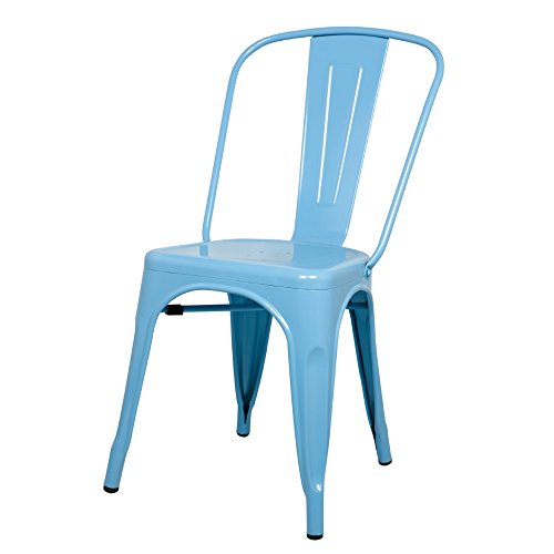 Cheap ModHaus Light Blue Xavier Pauchard Tolix A Style Chair in Powder Coat Finish Galvanized Steel Metal Stackable