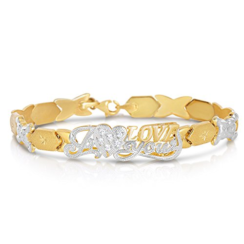 "Gold Tone Two Bracelet 10k (Floreo 7 Inch 10k Two-Tone Gold Stampato Xoxo Hugs and Kisses with Bear and Heart ""I Love You"" ID Bracelet)"