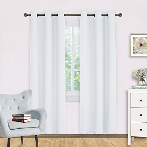 White Room Darkening Curtain Panels - NICETOWN Easy Care Solid Thermal Insulated Grommet Room Darkening Draperies / Drapes for Bedroom (2 Panels,42 by 72,Silver White) - Furniture White Panel