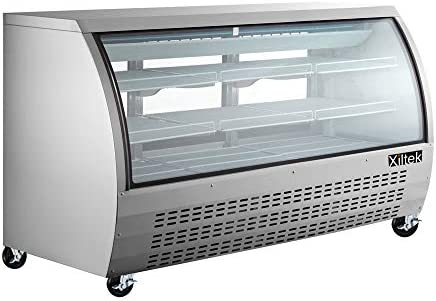 """New 82"""" Xiltek Commercial All Stainless Steel Curved Glass Refrigerated Deli Case Display Case With LED Lighting And Casters"""