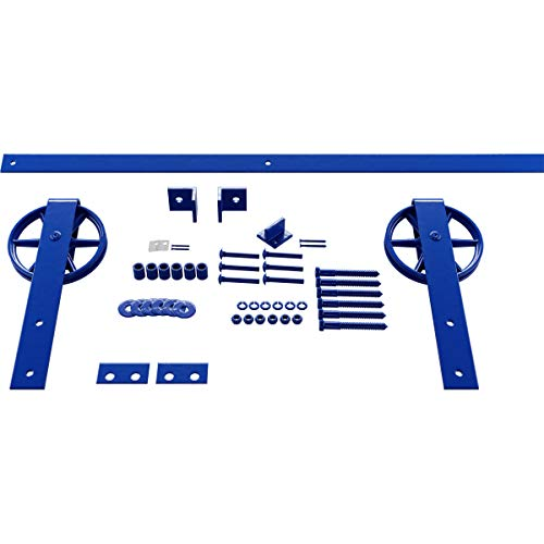 Goldberg Brothers Inc. GB600147HWBR Premium Wagon Wheel Strap Set Barn Door Hardware, 84 Inch Track Length (for 1 3/4…