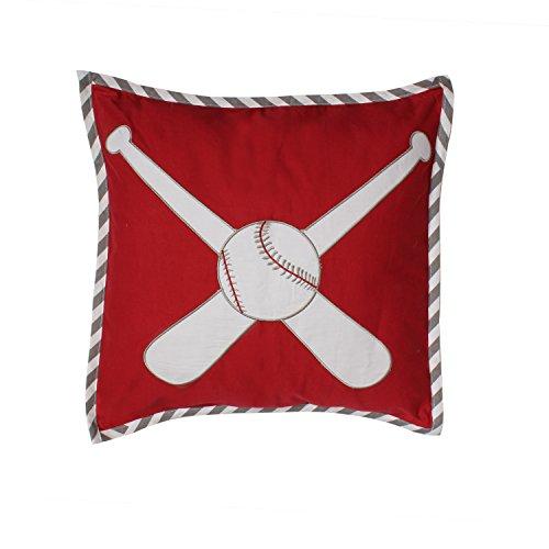 Bacati – Muslin Sports Toddler Bedding Dec Pillow, Baseball Red Grey