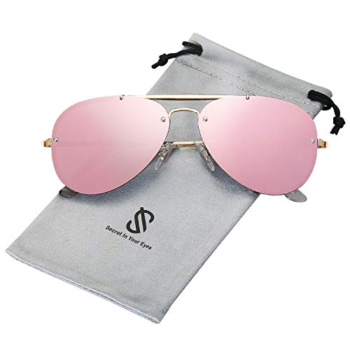 SOJOS Rimless Aviator Sunglasses for Men and