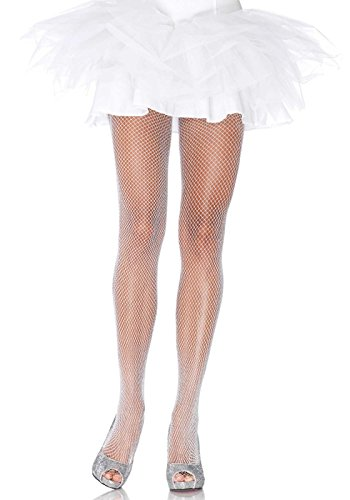 [Leg Avenue Women's Fishnet Pantyhose with Glitter Spandex, White/Silver, One Size] (Classic Halloween Costumes 2016)