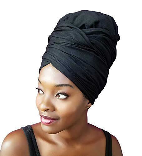 Rayna Josephine Solid Color Head Wrap -Stretch Long Hair Scarf Turban Tie