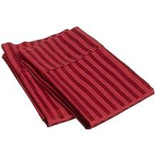 100% Premium Long-Staple Combed Cotton 400 Thread Count Standard Pillowcase Pair Stripe, Burgundy