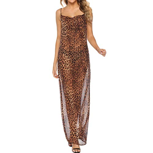 Women Sexy Leopard Print Long Dress Nightdress Camisole Lingerie Underwear Alalaso]()