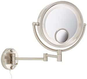 Jerdon HL8515N 8.5-Inch Lighted Wall Mount Makeup Mirror with 7x and 15x Magnification, Nickel Finish