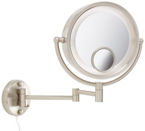 Jerdon HL8515N Lighted Wall Mount Makeup Mirror with 7x and 15x Magnification, Nickel Finish, 8.5