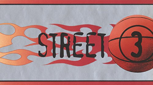 Street Justice Basketball Flames Off White Grey Wallpaper Border for Teens, Roll 15' x ()