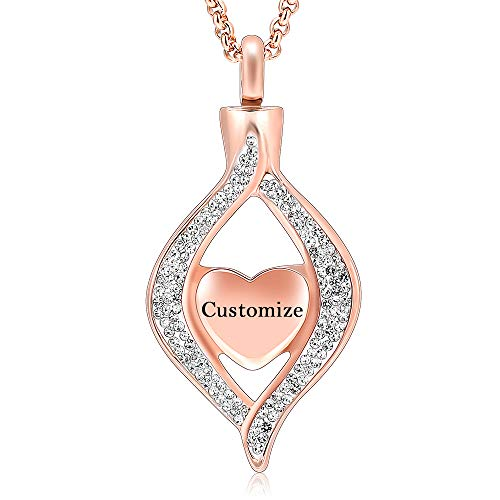 Hearbeingt Personalized Custom Cremation Jewelry for Ashes, Classic Style Crystal Keepsake Necklace Made with Stainless Steel, Heart Shape Memorial Locket for Mam