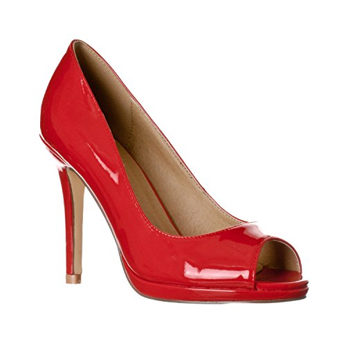 Riverberry Women's Julia Slight Platform Open Toe High Heel Pumps, Red Patent, 9