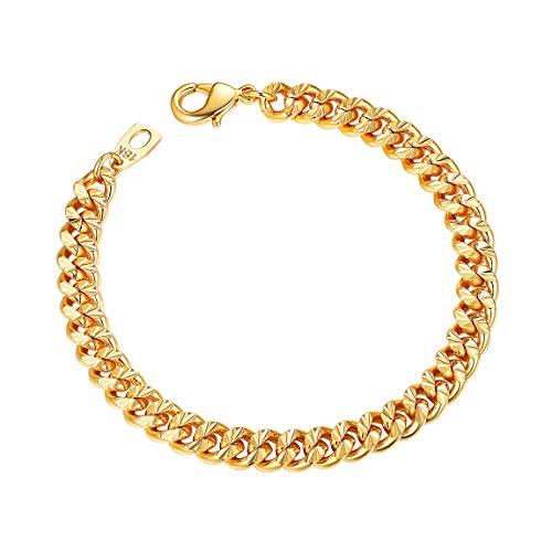 Mens 18K Gold Bracelets 7mm 21CM Gold Plated Thick Wrsit Chain Boy - Bangle Mm 7 Bracelet