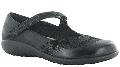 Naot Footwear Women's LUGA Black Lace Nubuck/Oily Coal Nubuck/Black Madras Leather Flat 38 (US Women's 7) M