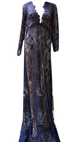 Luxury Women Lace Party Dress Blue Deep Trim Through See Purplish V Neck Coolred 5aIUdwxx