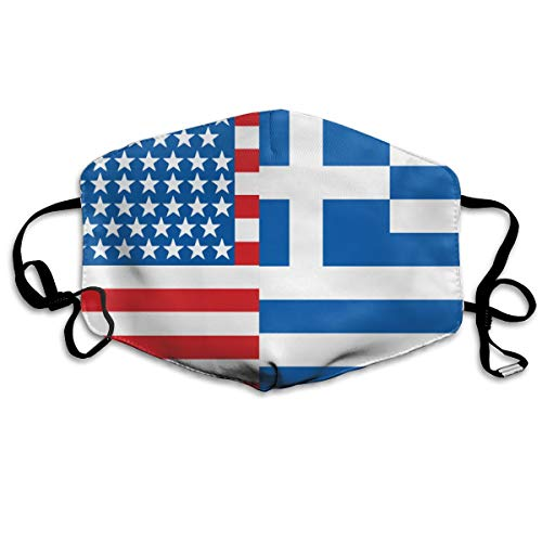 American Greece Greek Flag Mouth Mask,Anti Dust Face Mask,Washable Reusable Mouth Cover Masks White