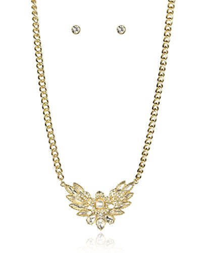 Lux Accessories Goldtone imitation Pearl Rhinestone Necklace Earrings Gift Jewelry - Pearls Imitation Floral Necklace