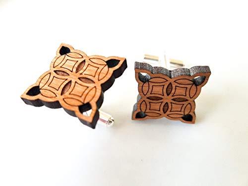 Cherry Wood Moorish Diamond Cufflinks, artisan-made in the USA ()