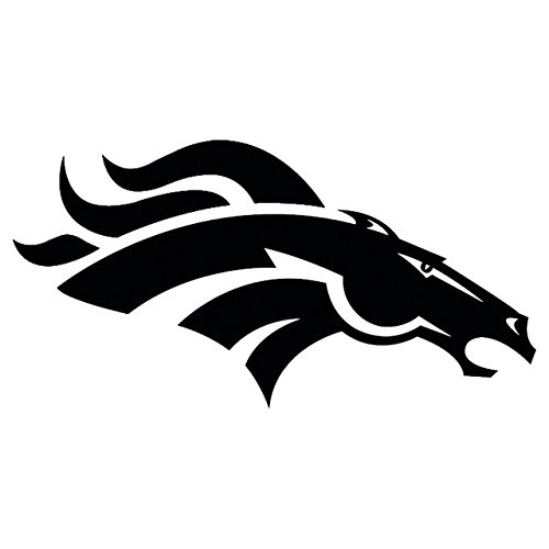 NFL - The Denver Broncos. (BLACK) (set of 2) - silhouette stencil artwork by ANGDEST - Waterproof Vinyl Decal Stickers for Laptop Phone Helmet Car Window Bumper Mug Cup Door Wall Home (Broncos Family Decal)