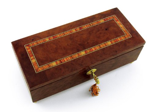 Lavish Hand Made Classic Style Music Jewelry Box With Lock And Key - Rock of Ages - Christian Version by MusicBoxAttic