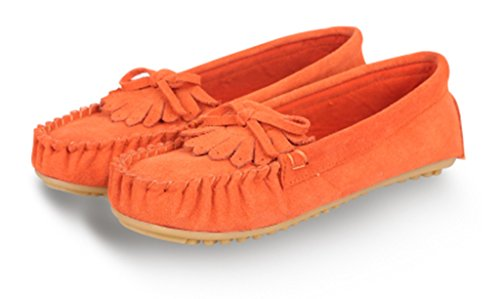 CRC Womens Fashion Comfortable Suede Leather Driving Walking Trail Running Boat Loafers Flats Multi Colored Orange vvlYSgAN