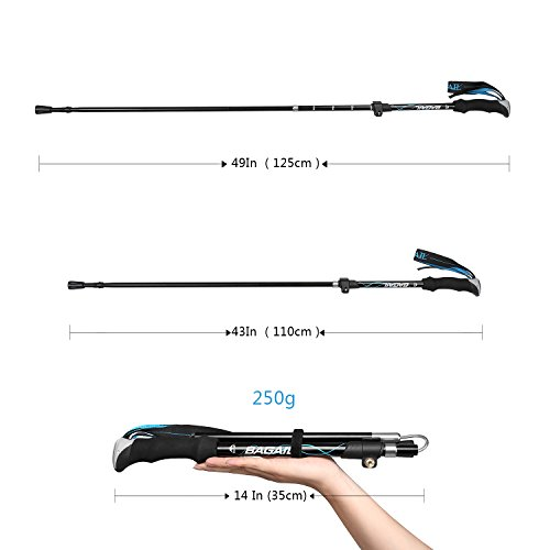 Bagail Carbon Cork Trekking Poles - Foldable, Collapsible, Adjustable, and Ultralight - Perfect for Hiking, Walking, Backpacking and Snowshoeing 2 PCS