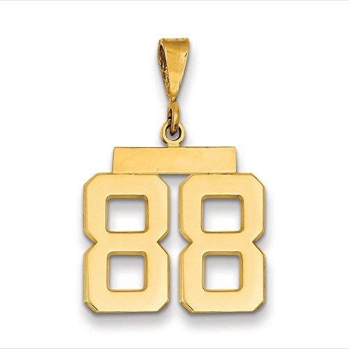 M nombre poli 14 carats - 88-JewelryWeb