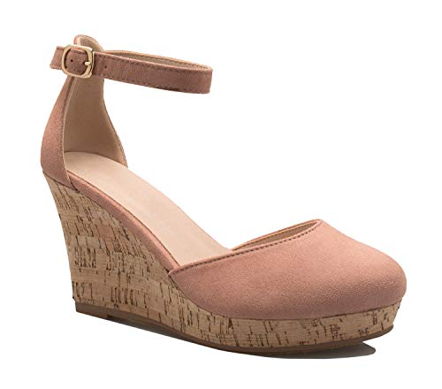 Pink Platforms Wedges Shoes - OLIVIA K Women's Open Toe T-Straps Strappy High Wedge Heel Wood Decoration Buckle Shoes Sandals