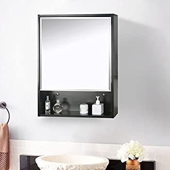 Eclife 22 X 28 Large Storage Bathroom Medicine Cabinet Mirror Wood Adjustable