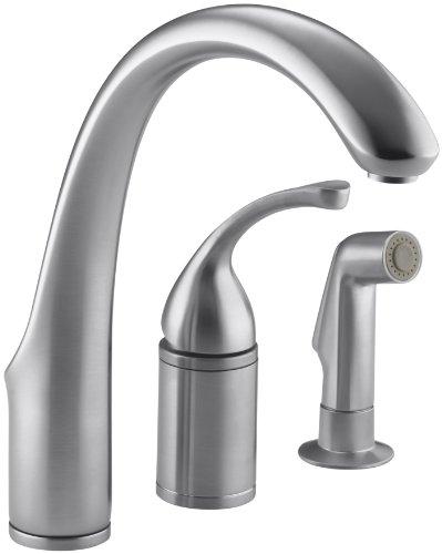 (KOHLER K-10430-G Forte Single Control Remote Valve Kitchen Sink Faucet with Sidespray and Lever Handle, Brushed Chrome )
