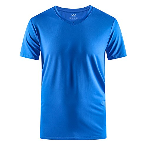 XGC Men's Casual V-Neck Short Sleeve Quick Dry Training Fitness Sport T-Shirt