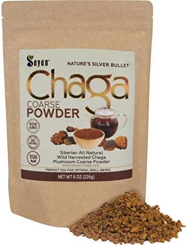 Sayan Siberian Raw Ground Chaga Powder 8 Oz 226g – Wild Forest Mushroom Tea, Powerful Adaptogen Antioxidant Supplement, Support for Immune System, Digestive Health and Helps Inflammation Reduction