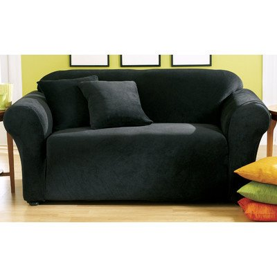 Sure Fit Stretch Pique Knit  - Loveseat Slipcover  - Black (SF28406)
